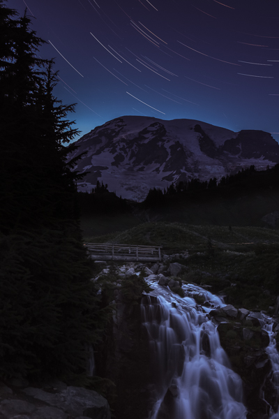 Star trails, Mt Rainier
