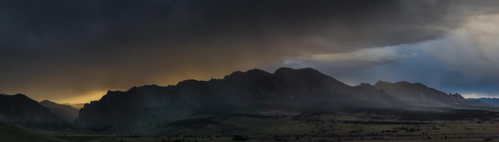 Sunset storm, Boulder Flatirons