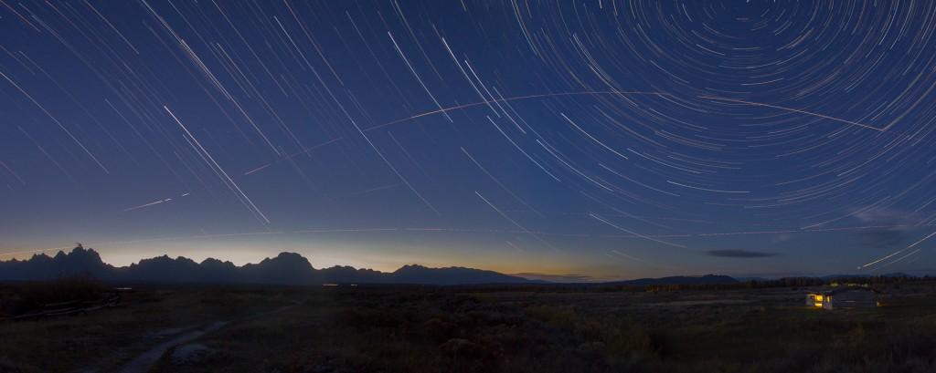 Cunningham Cabin, stars, Grand Teton National Park