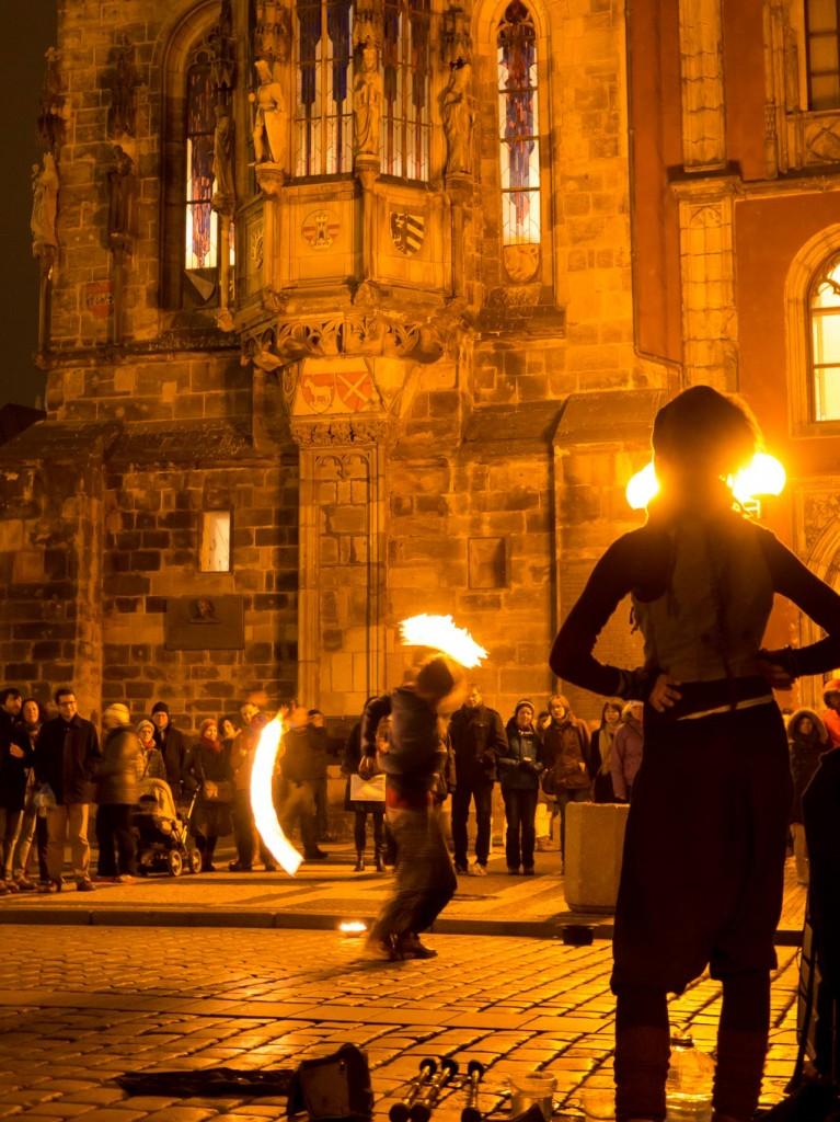 Street performers in Prague