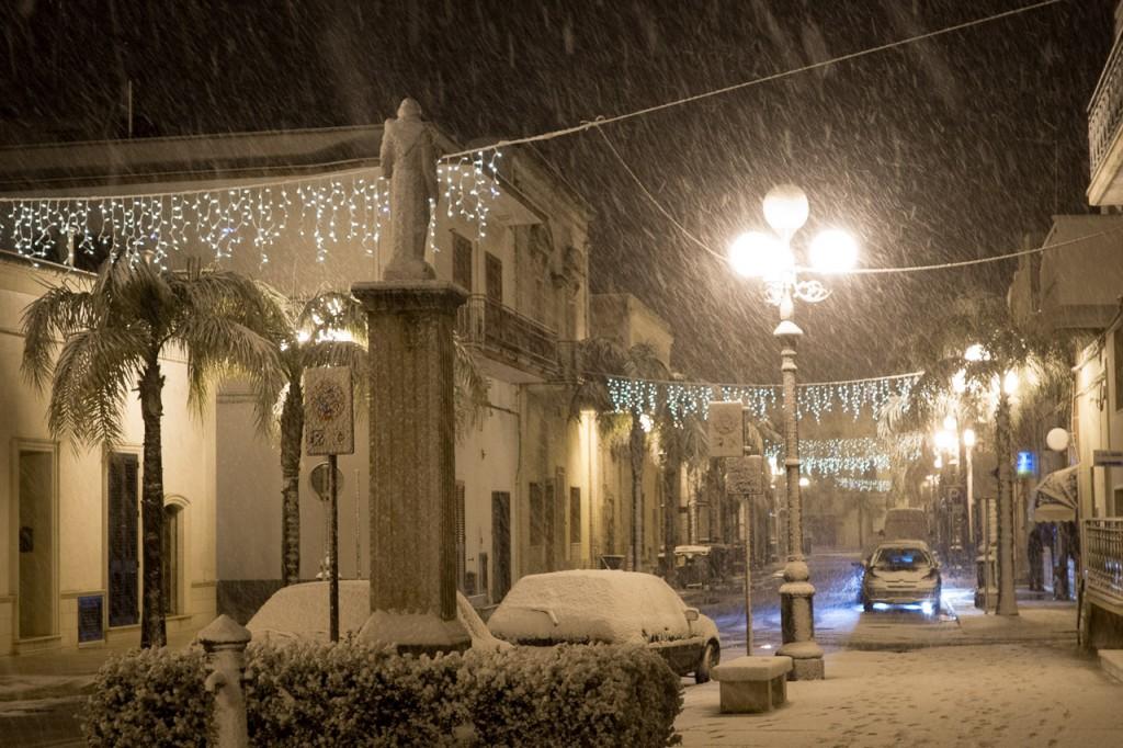 Maruggio, Italy, snow