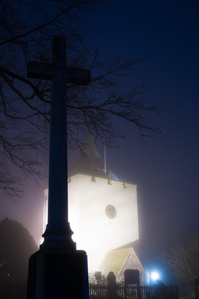 Otford church, fog