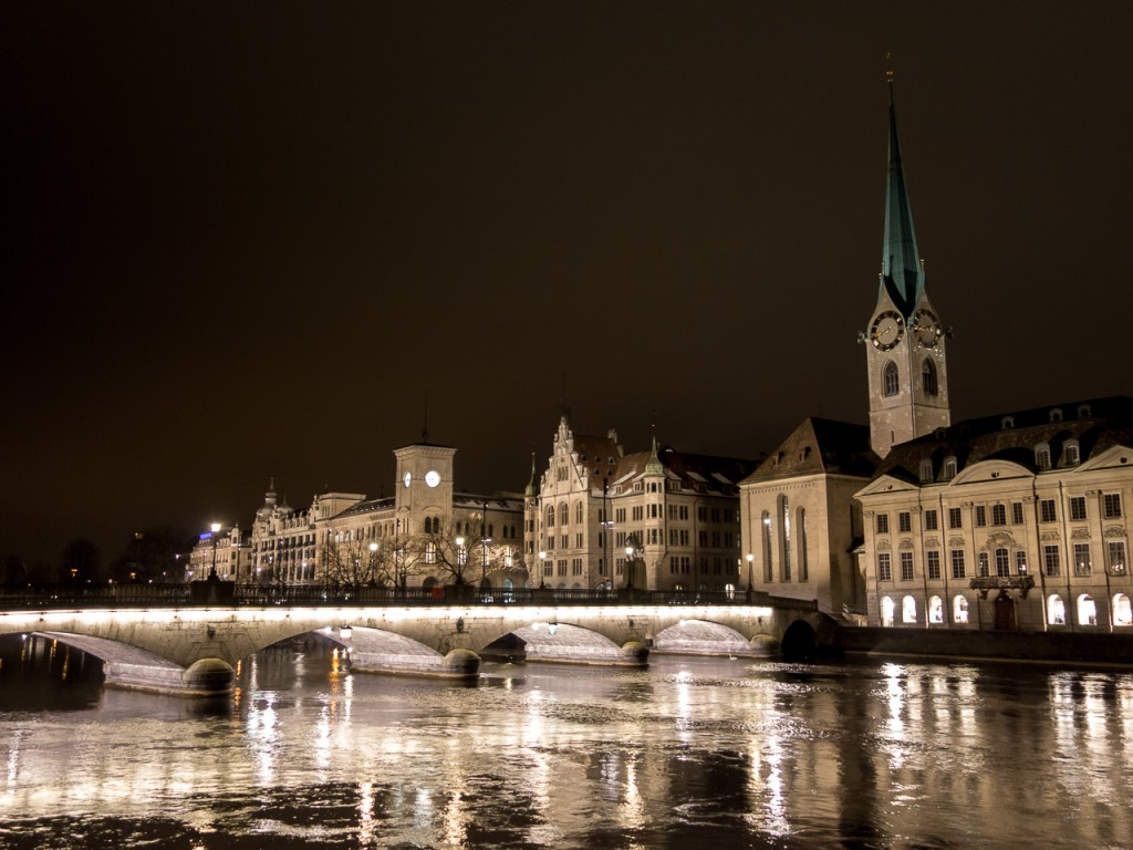 Zurich city center, night
