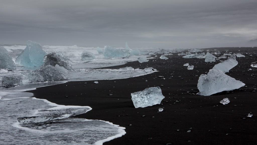 Icebergs on beach Iceland