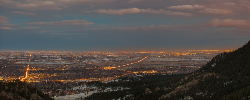 Boulder from Flagstaff Mountain, twilight